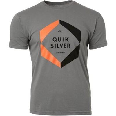 クイックシルバー メンズ シャツ トップス Quiksilver Men's Hexa Logo Short Sleeve T-Shirt Light Gray