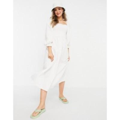 ニュールック レディース ワンピース トップス New Look shirred midi dress in off white Off white