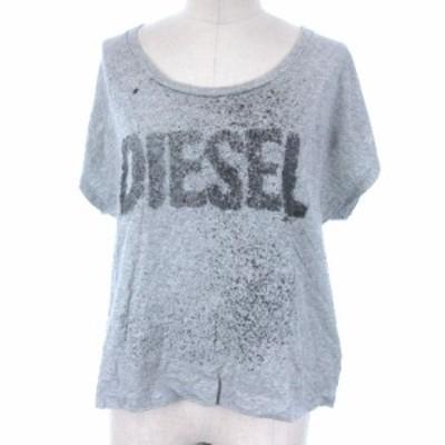 【中古】ディーゼル DIESEL Tシャツ カットソー プリント ロゴ 半袖 グレー XS レディース