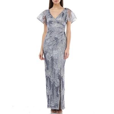 ジェイエスコレクションズ レディース ワンピース トップス Metallic Lace Surplice Flutter Sleeve Front Side Slit Gown
