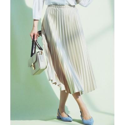 (NIJYUSANKU(SMALL SIZE)/ニジュウサンク エスサイズ)サテンプリーツ レザー スカート/レディース アイボリー系