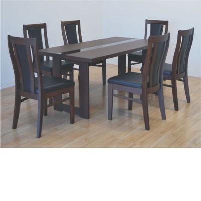 ダイニングテーブルセット 6人掛け 幅165cm ダイニングテーブル チェア ダイニング 7点セット 北欧 モダン ウォールナット アウトレット価格並
