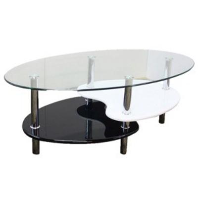 強化ガラステーブル(ローテーブル) 高さ43cm 棚収納/アジャスター付き ブラック(黒)& ホワイト(白)【代引不可】