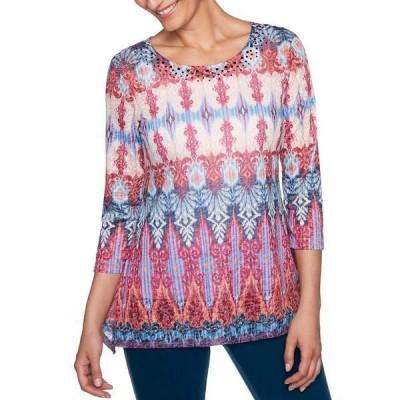 ルビーロード レディース Tシャツ トップス Embellished Scoop Neck Ikat Border Burnout Sublimation 3/4 Sleeve Knit Top Fuchsia Multi