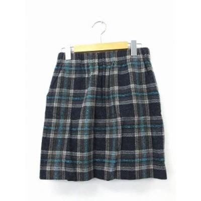 【中古】ティアラ Tiara スカート 台形スカート ミニ ゴム ウール チェック ブラック 黒 /KT47 レディース