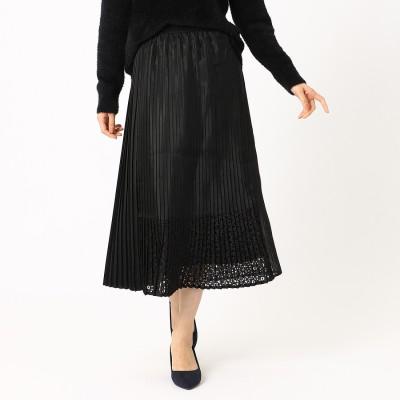 コムサイズム COMME CA ISM オーガンジーブロッキングプリーツスカート (ブラック)