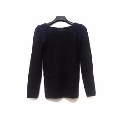グッチ GUCCI 長袖セーター サイズM レディース 美品 黒×ブルー ラメ/肩パッド【中古】20200509