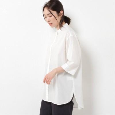 高密度ローンバンドカラー6分袖シャツ ホワイト M L