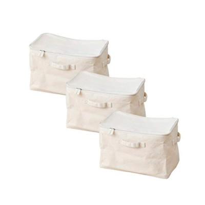 山善 収納ボックス (ふた付き) 3個セット カラーボックス対応 (内側が拭ける・折りたためる) コットン100%使用 (コットンナチュラル