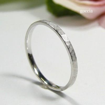 華奢な指輪、ハードプラチナ900、ハンマー仕上げ (Adrable)
