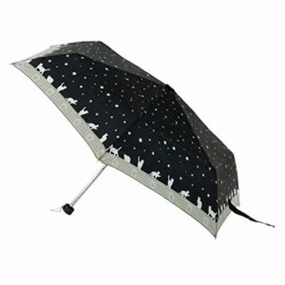 アテイン(Attain) 折りたたみ傘 軽量ミニ ネコと星空 黒 親骨50cm 5181