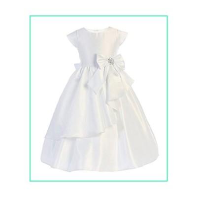 Sweet Kids Cascading Satin First Communion Girls' Dress, 12, White並行輸入品