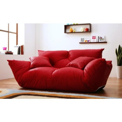 日本製 カウチソファ 2人掛けソファー 寝椅子 クッション付き リクライニングソファー バーグ フロアーソファ ロータイプ