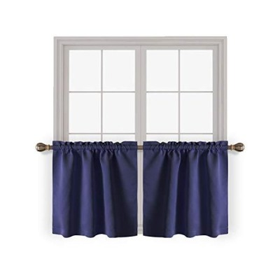 LORDTEX 遮光ティアカーテン ロッドポケット キッチンカーテン 2枚 30 x 24 inch ブルー Tiers3024Navy