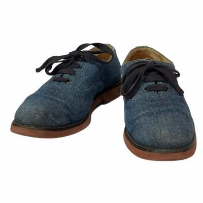 CHANEL シャネル シューズ 靴 ローファー デニム レースアップ ココマーク ブルー