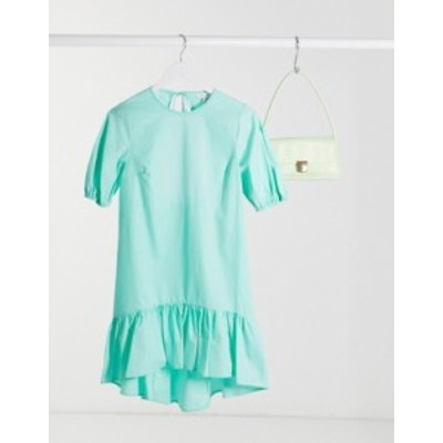 トップショップ レディース ワンピース トップス Topshop poplin mini dress in pale mint Green