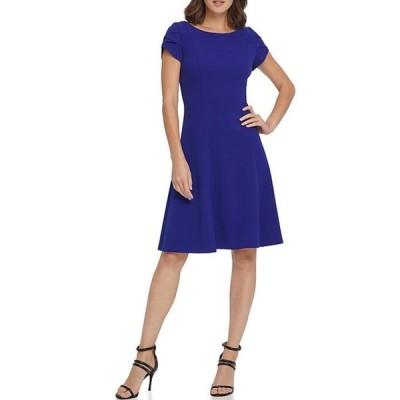 ダナ キャラン ニューヨーク レディース ワンピース トップス Tulip Sleeve Scuba Crepe Fit & Flare Dress
