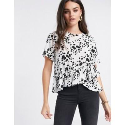 エイソス レディース シャツ トップス ASOS DESIGN woven t-shirt with ruffle hem in mono print Multi