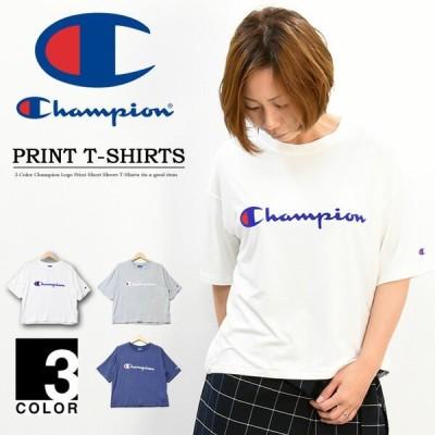 セール Champion チャンピオン レディース ロゴプリント 半袖Tシャツ ドロップショルダー ウィメンズ クルーネック CW-PS313