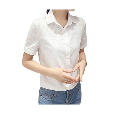 ASHERANGEL レディース 白シャツ コットン レース Yシャツ 通勤 OL 通学シャツ 長袖 お洒落 オフィス フォーマル 着?