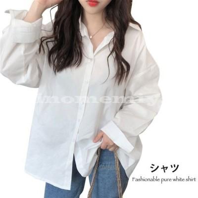 無地シャツレディースシャツカジュアルシャツ長袖角襟ホワイトシャツゆったりゆるシャツ薄手定番アイテムトップス重ね着レイヤード春新作