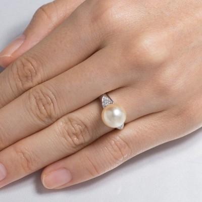 真珠 リング 指輪 白蝶 金 パール 伊勢志摩 卸 10.3mm プラチナ 誕生石 6月 プレゼント用