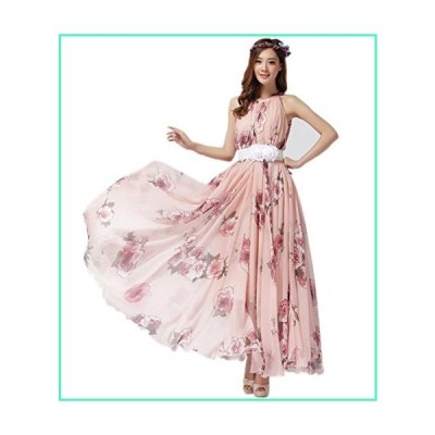 MedeShe Women's Chiffon Floral Holiday Beach Bridesmaid Maxi Dress Sundress (XX-Large, Pink Rose)並行輸入品