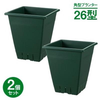 リッチェル 植木鉢 ネバール角プランター 26型 ダークグリーン ×2セット | ガーデニング 園芸 鉢 正方形 プラスチック