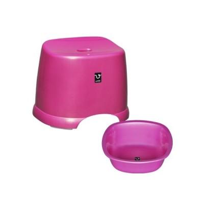 アンティー 風呂椅子・湯桶セット ピンク