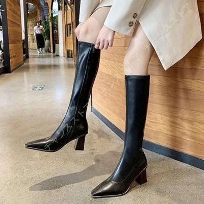 ブーツ レディース ジョッキーブーツ 大きい 筒周り 疲れない ブーツ ロング ふくらはぎ ゆったり ブーツ 大きいサイズ ローヒール 騎士ブーツ 歩きやすい