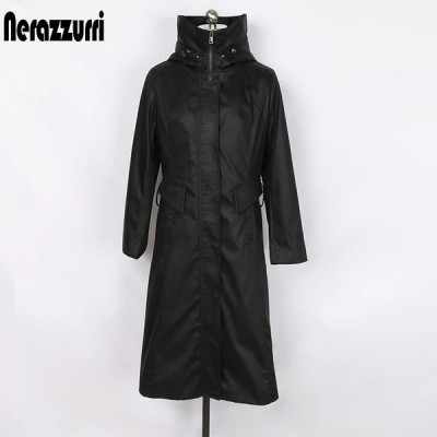Nerazzurriジップアップパーカー女性用ジャケット伸縮性ウエスト長袖黒ウィンターコート女性プラスサイズロングパーカー暖かいレインコート
