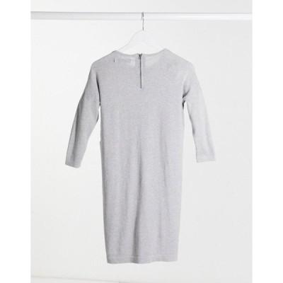 ヴェロモーダ レディース ワンピース トップス Vero moda round neck sweater dress in gray Gray