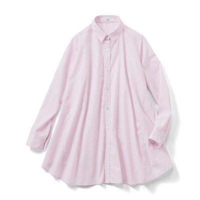 たっぷりフレアーが印象的なAラインシャツチュニック〈ライラックピンク〉 IEDIT[イディット] フェリシモ FELISSIMO