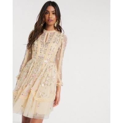 ニードル アンド スレッド Needle & Thread レディース ワンピース ミニ丈 ワンピース・ドレス mini dress with rose embroidery in lemon レモン