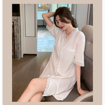 レディース パジャマ 夏秋 ルームウェア ネグリジェ 綿 大きいサイズ ワンピースタイプ ネグリジェ 寝巻き 部屋着 ナイトウェア 可愛い 着心地 ゆったり