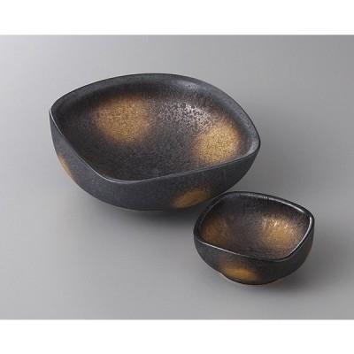 有田焼 黒柚子結晶金彩 千代口 7.5x7.5x3 定価1850円