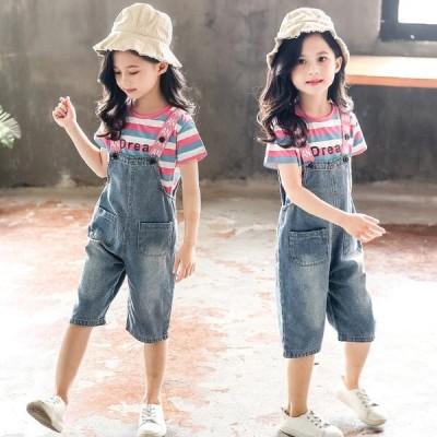 女の子 上下セット キッズ こども服 ジュニア 半袖tシャツ デニムオーバーオール 2点セット おしゃれ セットアップ 韓国子供服 ゆったり ハーフパンツ