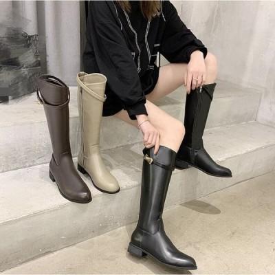 ロングブーツレディースニーハイブーツ 靴チャンキーヒールローヒールヒール3cm大きいサイズ歩きやすい黒太ヒール痛くない