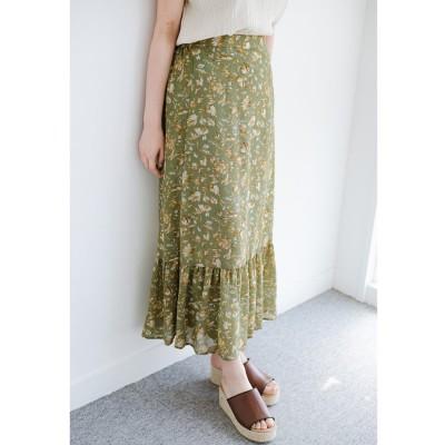 haco! ふわっと揺れる裾にきゅん!とろみシフォンの大人可愛い花柄スカート(グリーン系その他)
