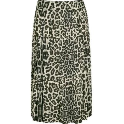 ドリス ヴァン ノッテン Dries Van Noten レディース ひざ丈スカート スカート Suki Leopard-Print Satin Midi Skirt Yellow