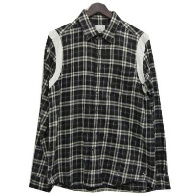 【4月19日値下】UNIFORM EXPERIMENT 16AWショルダーラインチェックネルシャツ ブラック サイズ:2 (明石店)