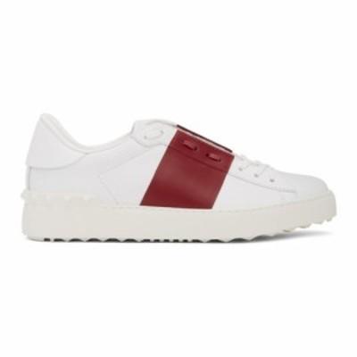 ヴァレンティノ Valentino レディース スニーカー シューズ・靴 White and Red Garavani Rockstud Open Sneakers Raspberry