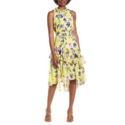 エリザジェイ ワンピース トップス レディース Floral Asymmetric Tiered Dress Citrus