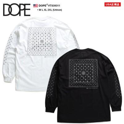 ドープ DOPE ロンT ロングスリーブ 長袖 大きいサイズ かっこいい おしゃれ 袖ロゴ ペイズリー バンダナ 柄 モノグラム ロゴ ビッグシルエット ゆったり