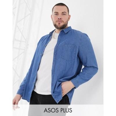 エイソス メンズ シャツ トップス ASOS DESIGN Plus regular fit organic denim shirt in mid wash Mid wash