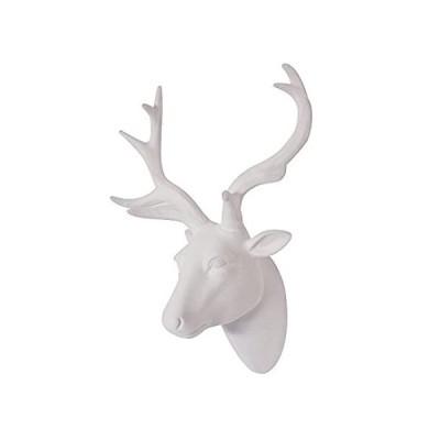 Smarten Arts アニマルヘッドウォールアート 鹿の頭の壁の装飾 白いフェイク毛皮/フェルト/ベルベットのような樹脂鹿の頭 白い角付き 壁に取