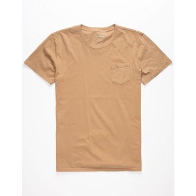 ブルークラウン BLUE CROWN メンズ Tシャツ ポケット トップス Garment Dyed Black Pocket Tee KHAKI