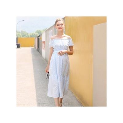 オフショル 透け感レース マタニティドレス フォーマル パーティードレス お呼ばれドレス kh-1230
