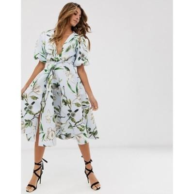 エイソス レディース ワンピース トップス ASOS DESIGN Bubble sleeve twist detail midi prom dress in floral