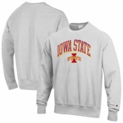 Champion チャンピオン スポーツ用品  Champion Iowa State Cyclones Gray Arch Over Logo Reverse Weave Pullover Sweatshi